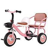 XIAOYANG Passeggino Doppio Bambino Due Posti Bici Doppia Triciclo può Portare Persone Sede Morbida All'aperto Triciclo 2 Colore Opzioni 55X65X45CM (Color : Pink)