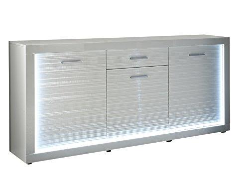 trendteam Wohnzimmer Sideboard Schrank Wohnzimmerschrank Starlight, 180 x 92 x 41 cm in in Korpus Weiß, Front Weiß Hochglanz mit Rillenoptik mit Profilbeleuchtung für den Rahmen