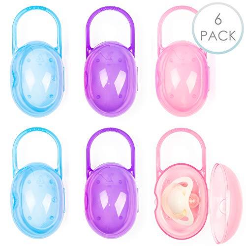 6 Stück Baby Schnullerbox Schnullerkoffer Schnullertasche - für Reise & Aufbewahrung - BPA-Frei, Ungiftig & Spülmaschinenfest - mit Netzbeutel.