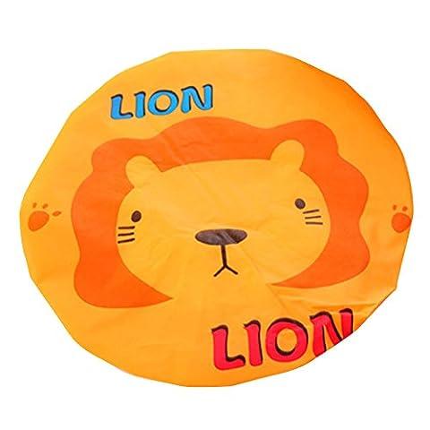 Lugii Cube étanche Bonnet de douche réutilisables en dentelle élastique de bain Cheveux Caps Chapeau mignon Dessin animé Animal, Lion