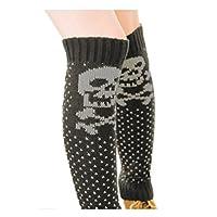 TININNA Winter Warm Crochet Knitted Knit Skull Leg Warmers High Boot Socks Boot Socks Legging for Women Girls Grey