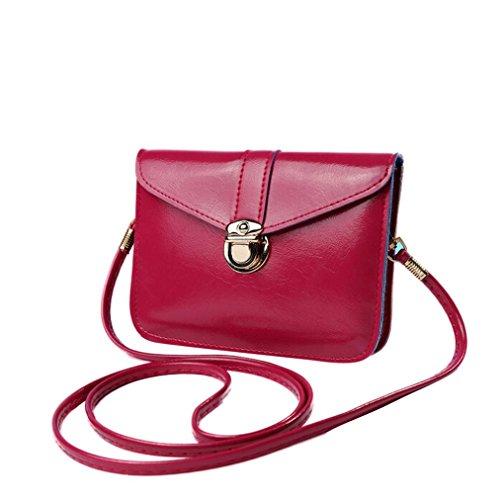Vovotrade Della borsa Zero borsetta di pelle singola spalla Messenger Bag Phone (Rosa caldo)