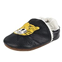 Chaussures souples bebe chaud chaussons en cuir doux enfant unisex tigreL 12-18 mois