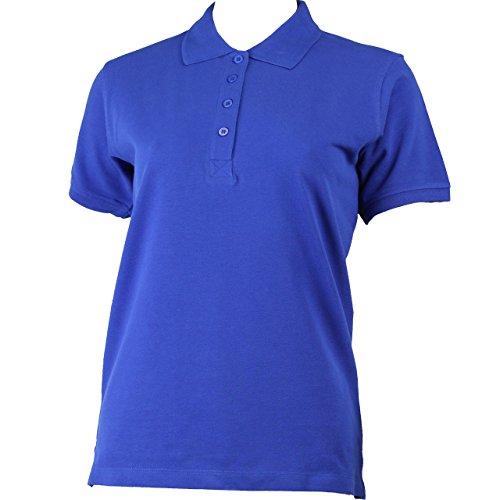 Polo à manches courtes pour femme avec rangée de boutons en 9 couleurs Bleu - Bleu roi