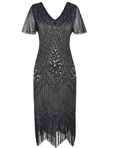 (PrettyGuide Damen 1920er Charleston Kleid Pailetten Cocktail Flapper Kleid Mit Ärmel S Grau)