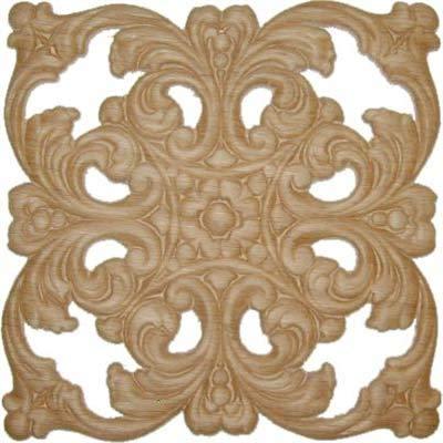 UNIQANTIQ W3-5777 Hardware Dekoratives Deko-Ornament, Eiche furniert, quadratisch, 15,2 x 15,2 cm - Onlay, antike und Moderne Möbeltüren, Wände, geschnitztes Holz, Ornamentdekoration -
