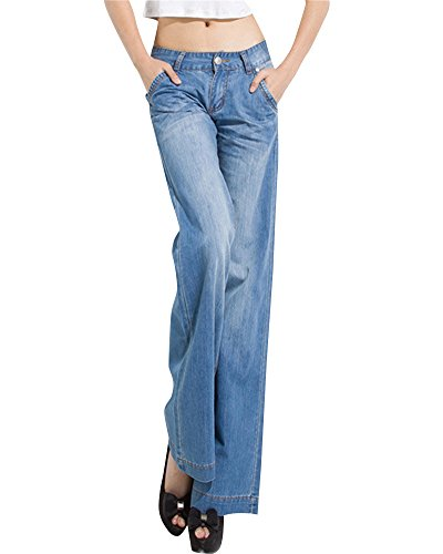 Damen Business Elegante Hoher Taille Bootcut Jeans Weites Bein Loose Fit Hose Hell Blau 26