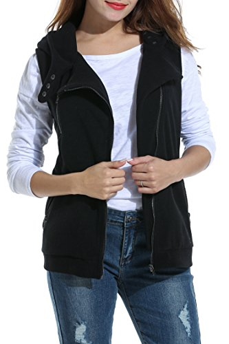 Finejo Damen Weste Sweatweste Übergangsweste mit Kapuze Elegant Herbst Wollweste Ärmellose Jacke für damen (M, Schwarz)