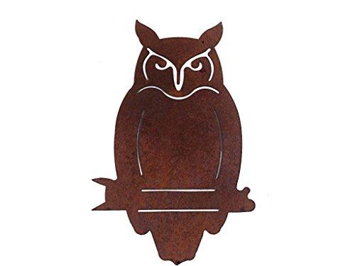Crispe home & garden Große Baumdeko Eisen Eule Vogel zum Anbringen an Baum, Holz in Edelrost