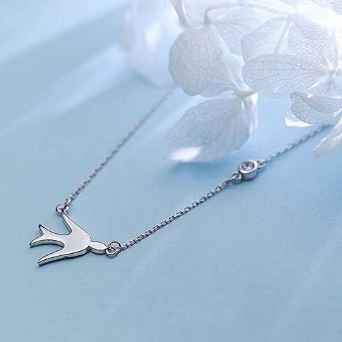 Thumby S925 Silber Halskette Weiblichen Japanischen Stil Einfache Einzelne Diamant Kleine Schwalbe Halskette Liebe Tier Kurze Schlüsselbein Kette, S925 Silberkette,...
