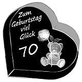 Kaltner Präsente Geschenkidee - Herz aus Glas: Kristallglas mit 3D-Laser-Gravur Teddy Rose/Zum Geburtstag viel Glück 70 Jahre