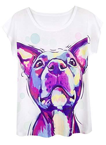 Doballa Damen Pitbull Hund T-Shirt Lustige Muster Kurzarm Niedlich Oberteile (XL, Französische Bulldogge)