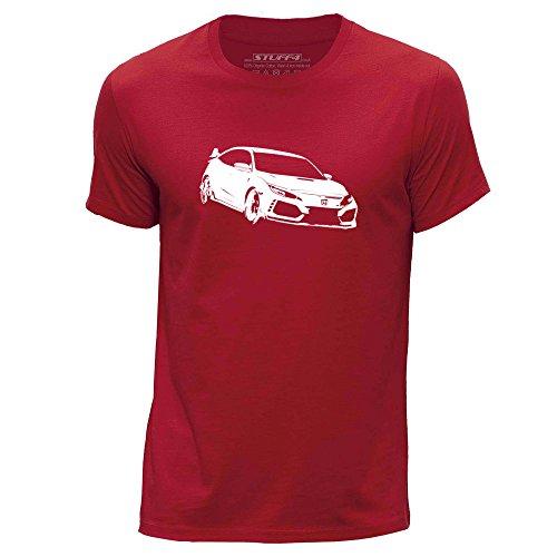 Stuff4® Herren/X Klein (XS)/Rot/Rundhals T-Shirt/Schablone Auto-Kunst/Civic FK8