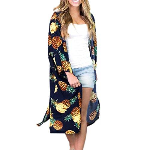 Lazzboy Damen Sommer Ananas Print Böhmischen Kimono Cardigans Bluse Cover Ups(Dunkelblau,XL)