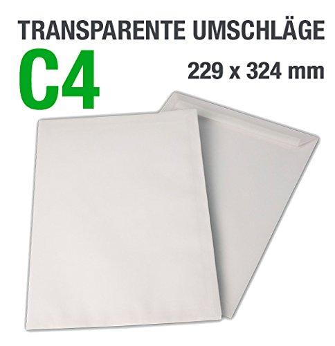 50buste trasparenti, C4= 324x 229mm, chiusura adesiva, 100g/mq