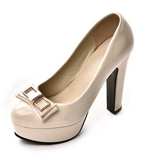 AllhqFashion Damen Blend-Materialien Ziehen Auf Rund Zehe Hoher Absatz Rein Pumps Schuhe Cremefarben