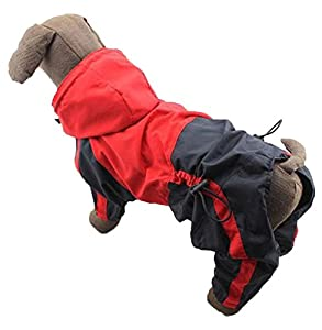 yunt imperméable pour chien Puppy, 4pieds imperméable pour chien Pet pluie Vêtements coupe-vent pour chien Combinaison Manteau hooide