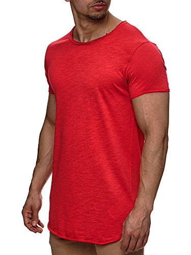 S!RPREME Herren T-Shirt Kurzarm Basic Longshirt Oversize Slim Fit Weiß Schwarz Rot Grau Dunkelgrau Anthrazit S M L XL XXL
