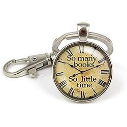 Tantos libros tan poco tiempo reloj llavero Cute antiguos reloj colgante joyas clave cadena clave Anillo