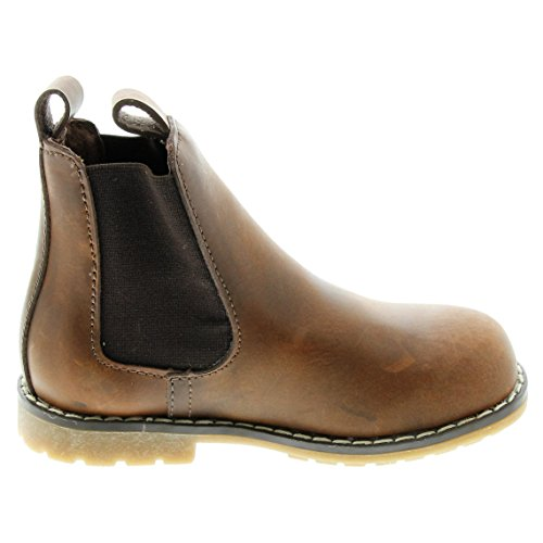 EnFant fille, boots classiques à enfiler, cuir 03 Brown