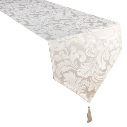 Home Creations Premier Cadiz - Camino de mesa (33 x 177,8 cm), color blanco