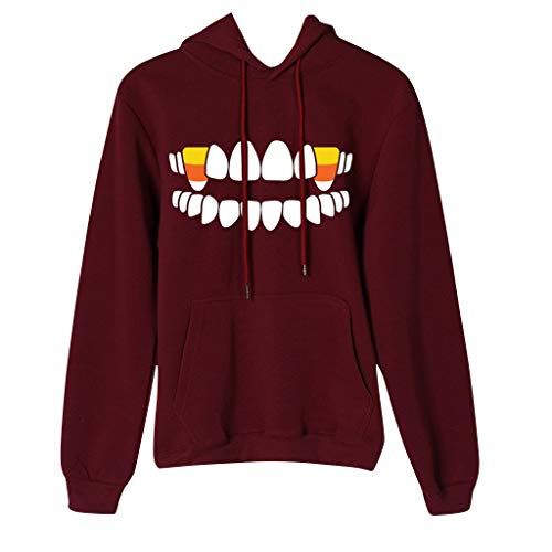 College Lustig Kostüm - Damen Halloween Hoodie Vampirzähne Druck Komisch Oberteil Lustig Kapuzenpullover Teen College Jumper Hooded Festliches Warm Pullover Hemd Langarmshirt Hoodies Oberteile Streetwear Party Pulli