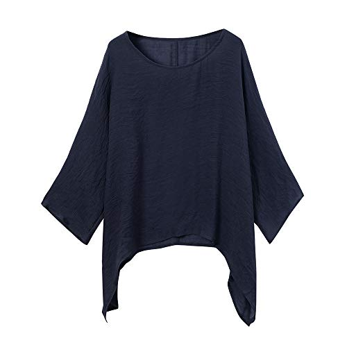 eefa83ea72b67 POPLY Spring Office Women Ladies Cotton Linen Solid Long Sleeve Shirt  Casual Loose Blouse Button Down