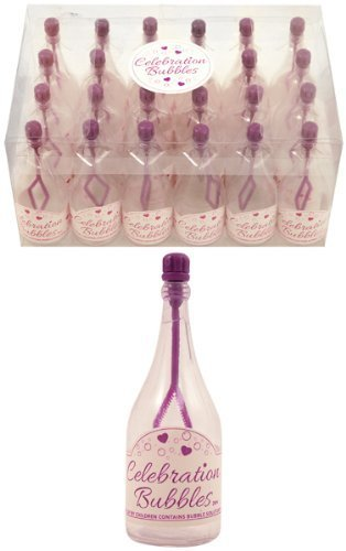 24 wedding birthday celebration bubbles purple top and wand clear bottle by Partyrama