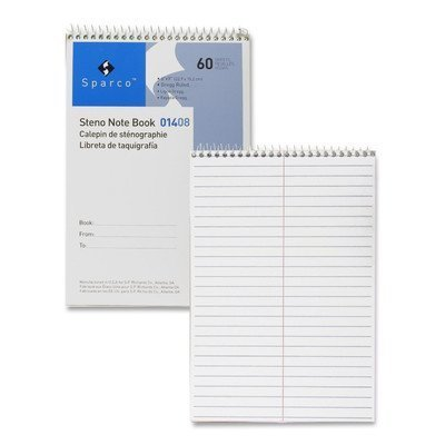 Steno Notebook, Gregg Ruled, 60 Sheets, 6x9, Green Color: White by Sparco