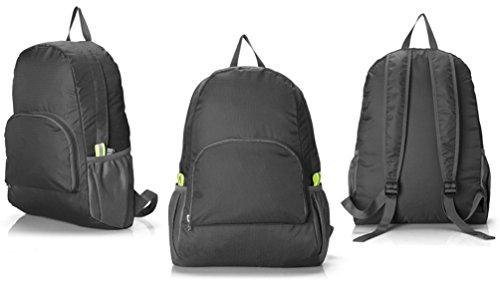 Duang® Unisex 25L Faltbarer Rucksack Leichter Wasserdichte Taschen, für Outdoor Wandern Reisen und Camping Reisen Wandern Trekking-Beutel Daypack Schwarz