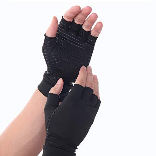 INSTINNCT Kompressions Handschuhe Anti-Arthritis Fingerlose Handschuhe mit Anti-Rutsch-Streifen Offene Fingerspitzen Kupfer Therapie für Antiseptisch für Büroarbeit Medizinische Arthrose Handschuhe - Medizinische Therapie