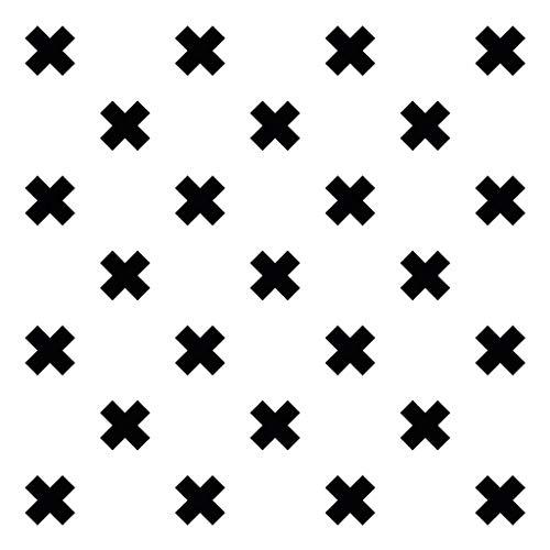 Vinyl Teppich | Kris Kross, Weiß mit schwarzen Kreuzen | 170x240cm