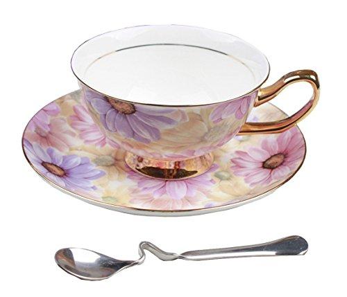 Porzellan Keramik Tee-Tasse Kaffeetasse, Chrysantheme, Lila Und Rosa