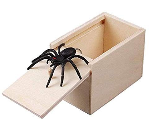Klinkamz 1 Stücke Holz Streich Spinne Scare Box Fall Witz Lebensechte Lustige Überraschung Gag Spielzeug -