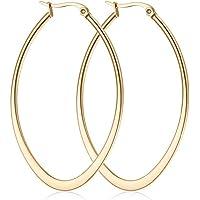 day.berlin Damen Ohrringe Drop (2 Stck.) Edelstahl Creolen, Oval 5,4cm x 3,8cm / 2mm stark, in Silber, Gold & Rose