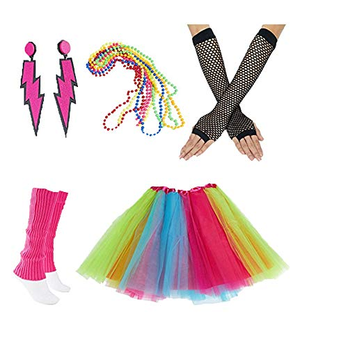 80er Jahre Neon Kostüm Kleid Zubehör Sets 1980s Damen Mädchen Night Out Fancy Party Dress Tutu Beinwärmer Fishnet Handschuhe Halsketten Mehrfarbig