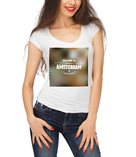 Billion Group | Welcome To The City Of Amsterdam | City Collection | Women's Megan Crew Neck T-Shirt Bianco Small