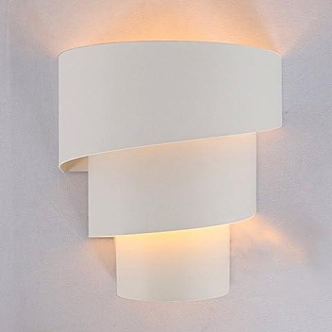 Lightess Applique Murale Interieur LED Lampe Moderne en Aluminium Eclairage Décoratif Lumiere Interieur pour Chambre Maison Couloir Salon - Ampoule E27 Inclus Blanc