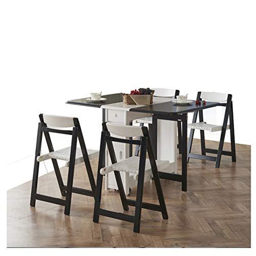 Dinette Folding Einfache Mode Versenkbare Kleine Wohnung Restaurant Wohnzimmer Party Im Freien Garten Balkon 4-6 person,Black,Chair X4 - Wohnzimmer Stuhl Deckt