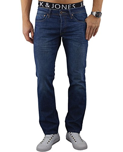JACK & JONES Herren Jeans Hose jjiCLARK Used Look Blue Denim Sitzfaltenoptik Regular Fit Blau (Blue Denim Fit:REG jjiCLARK 303)