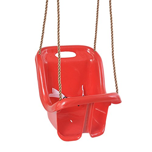 Sjho children's swing seat - outdoor gardening schienale alto - adatto per neonati/bambini - rosso
