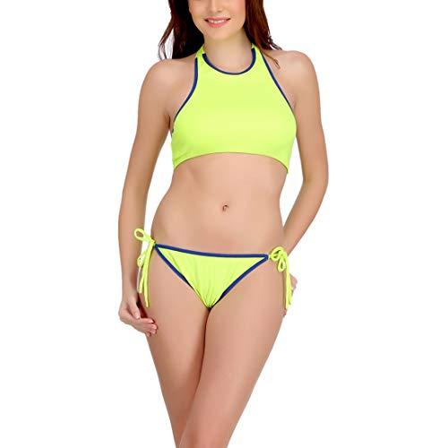 Urbaano high Neck Bikini Set - URA165-S (Large, Neon-Green)