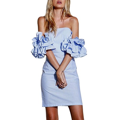 fbfdae5cc4 Femme Robe sexy - Saihui Flare manches à rayures Imprimé Off The Shoulder  Robe bustier Slash