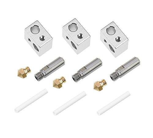 Zomiee 3pcs M726mm extrudeuse Tube + 3pcs 0.4mm extrudeuse Laiton Buse Têtes d'impression + 3pcs Aluminium Bloc de chauffage de Spécialisé pour MK10M71.75mm Filament MakerBot RepRap imprimante 3d