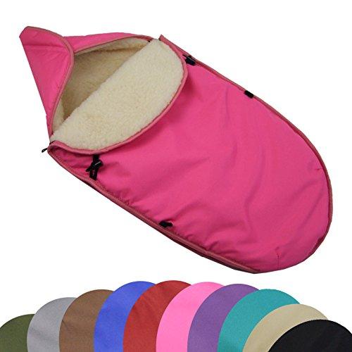 Preisvergleich Produktbild BAMBINIWELT universaler Winterfußsack für Babyschale (z.B: Maxi-Cosi) oder Kinderwagen, aus Wolle UNI (Pink)
