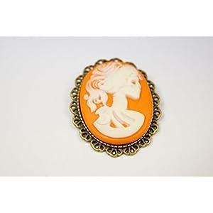 Brosche Ansteckbrosche Lady Skull orange Gothic