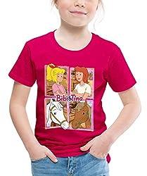 Bibi Und Tina Mit Amadeus Und Sabrina Kachelmotiv Kinder Premium T-Shirt, 134/140 (8 Jahre), Dunkles Pink