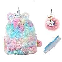TIGOR Cute Plush Unicorn Backpack, Mini Unicorn Backpack, 3D Unicorn Backpack, Soft Rainbow Backbag Sweet Girls Daughter Gifts (Yellow-12 inch)