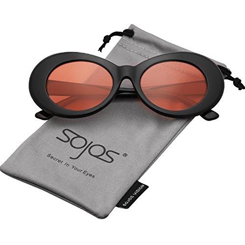SojoS Ovale Runde Retro Schick Art Dick Rahmen Sonnenbrille Damen Herren SJ2039 mit Schwarz Rahmen/Orange Linse