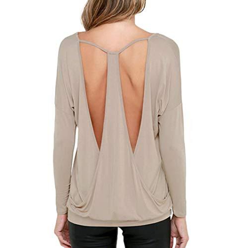 ABsoar Blusen Damen Hemd Pullover Frauen Rückenfreies T-Shirt Bluse Tops Lässiges O-Ausschnitt Bluse Oberteile Tops
